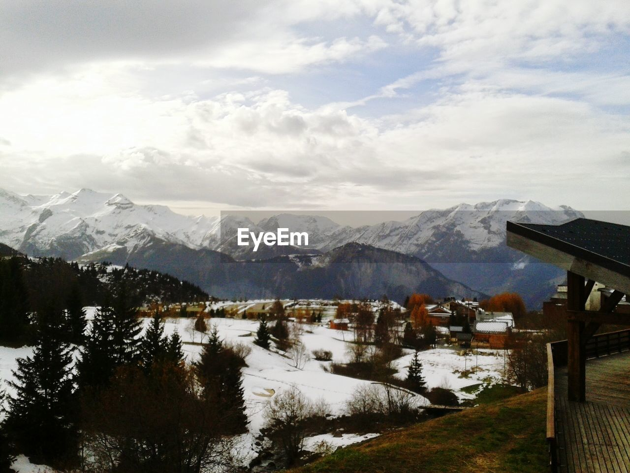 View Of Snow Covered Mountains Against Cloudy Sky