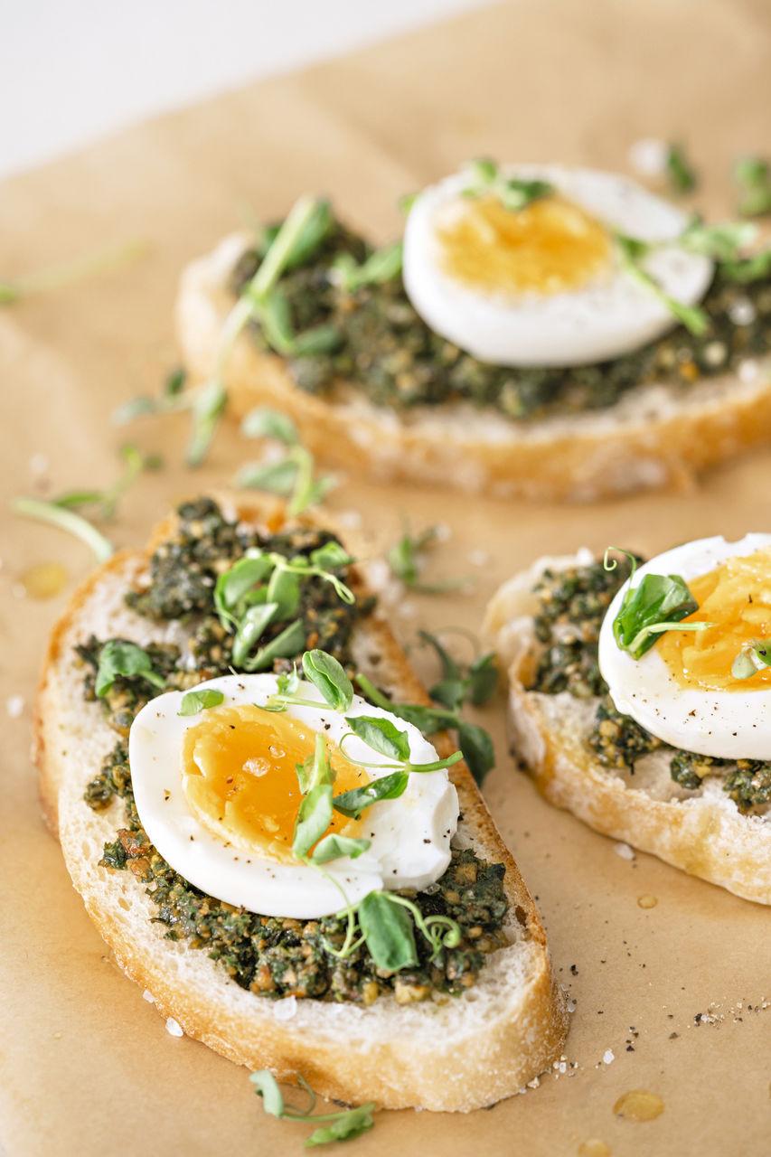 Egg and green pesto sandwiches.