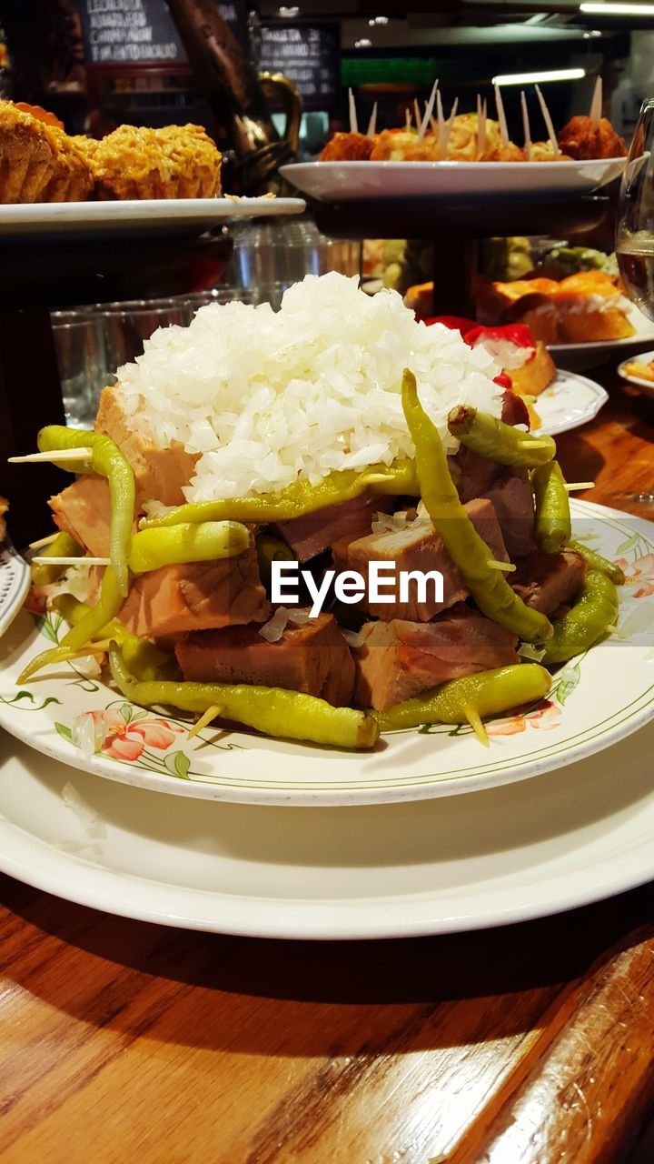 Close-Up Of Rice With Meat In Plate