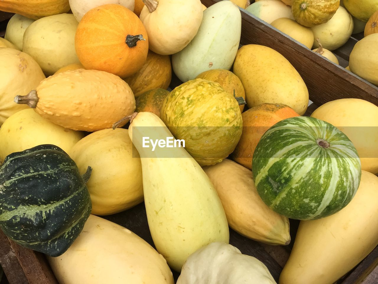 Full frame shot of squashes in crate