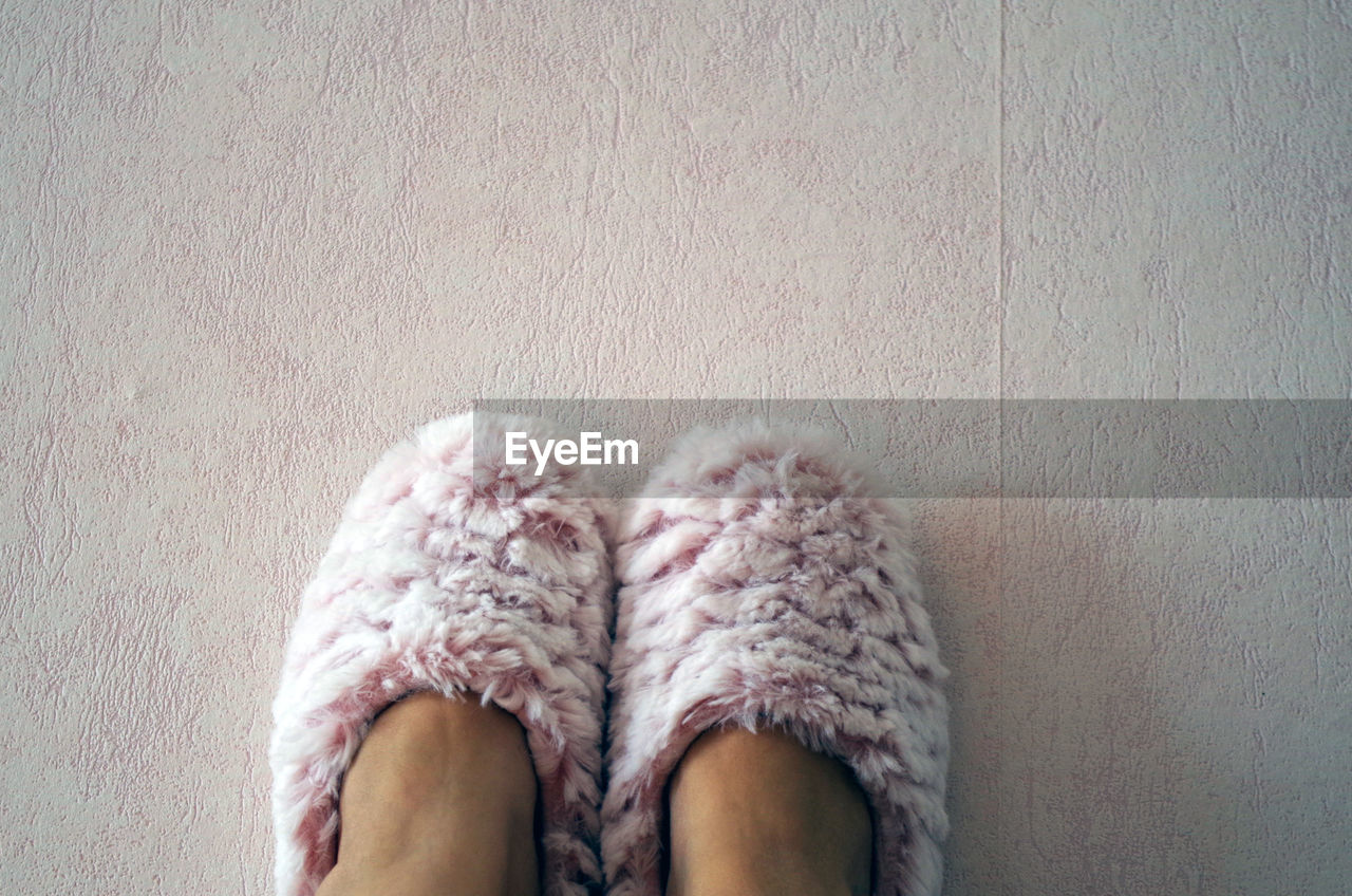 Low Section Of Person Wearing Slippers On Floor