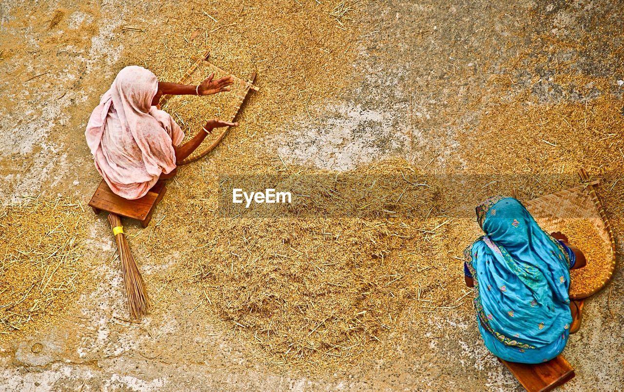 High Angle View Of Women Winnowing Rice