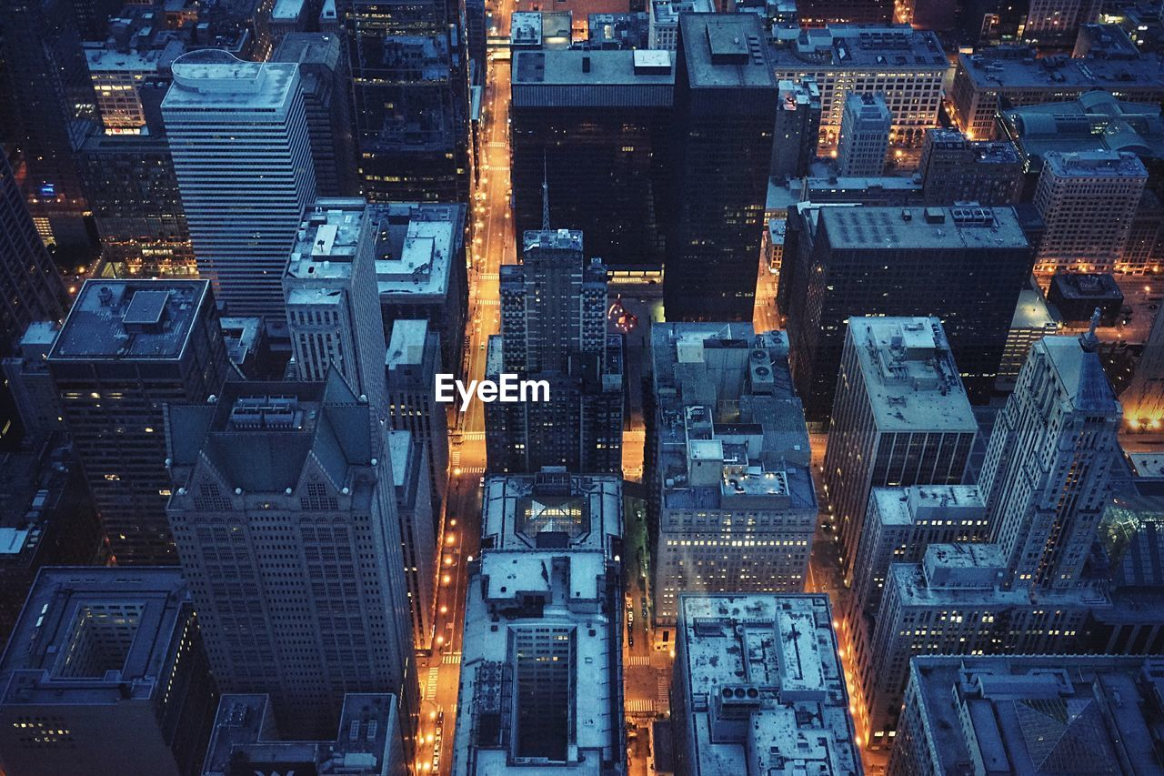 Full frame shot of illuminated city at night