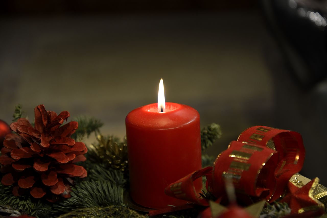 fire, burning, flame, candle, heat - temperature, fire - natural phenomenon, red, nature, illuminated, no people, close-up, selective focus, indoors, focus on foreground, glowing, plant, decoration, wax, flower, christmas decoration, advent