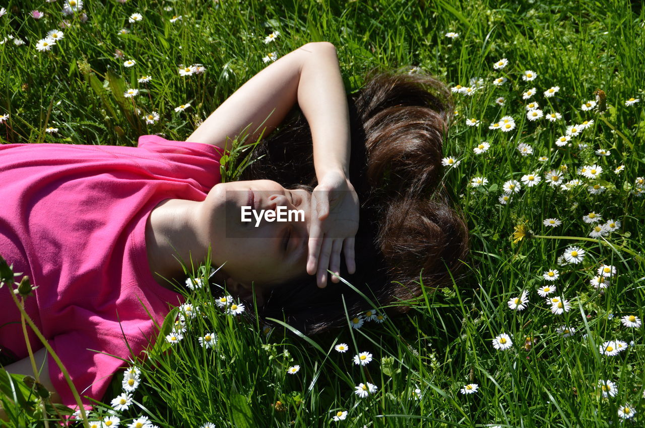 High Angle View Of Teenager Lying On Grassy Field With White Daisy Flowers