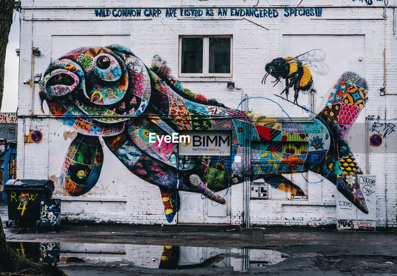 graffiti, text, multi colored, building exterior, built structure, architecture, art and craft, communication, outdoors, street art, day, no people, city, close-up