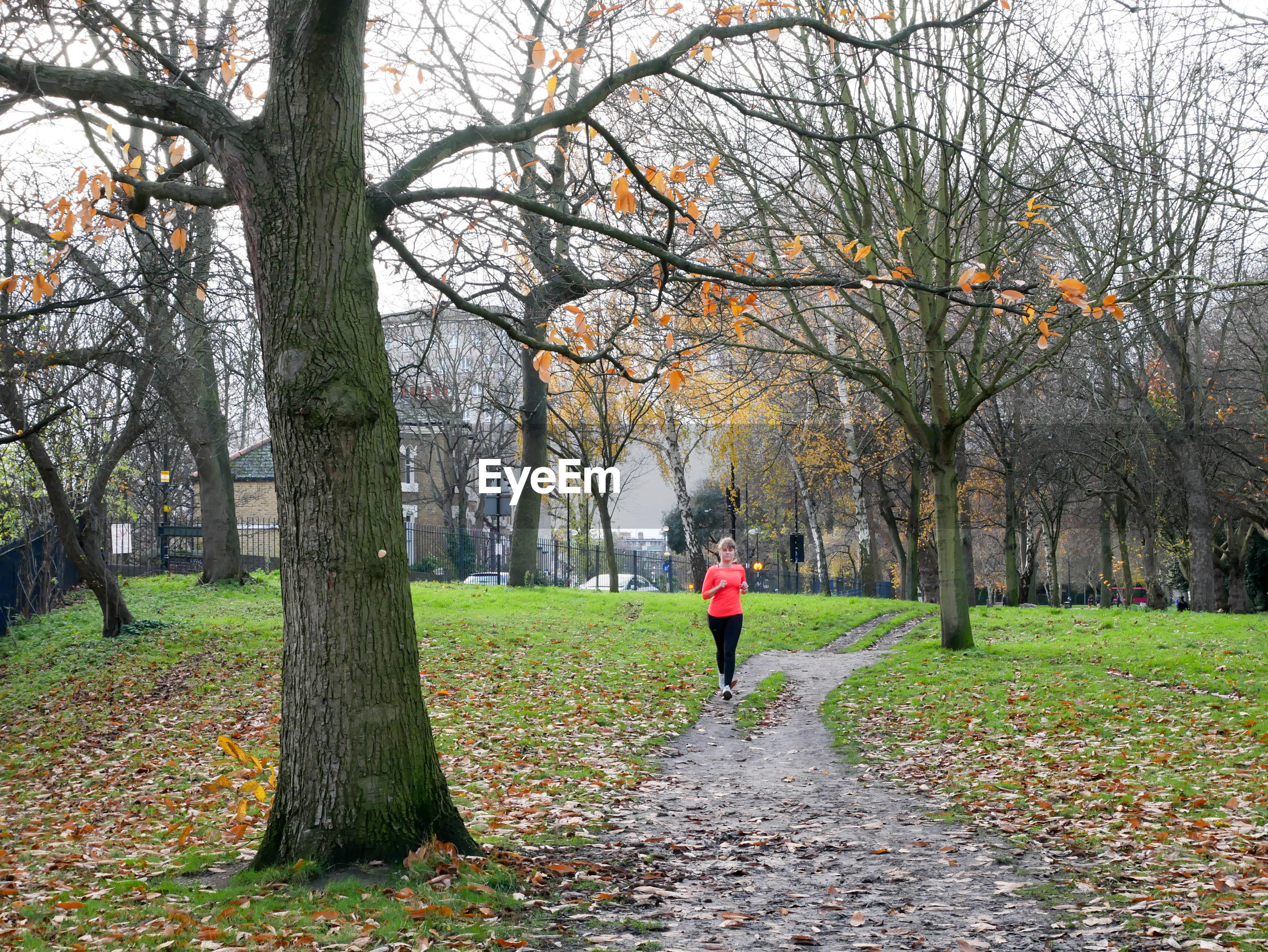 Woman jogging on footpath in park