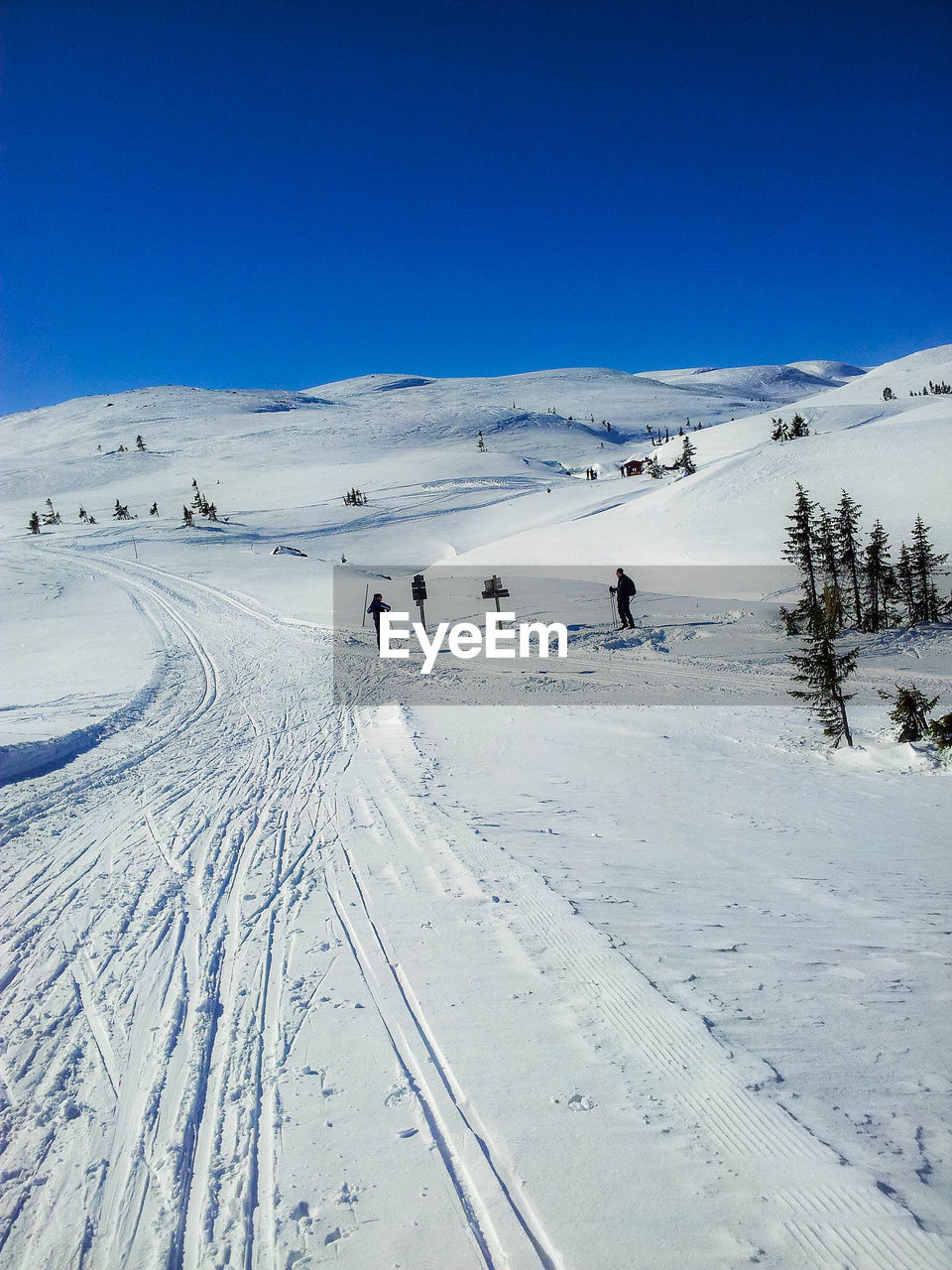 snow, winter, cold temperature, nature, white color, weather, beauty in nature, skiing, leisure activity, adventure, scenics, ski holiday, real people, tranquil scene, tranquility, sport, vacations, blue, mountain, day, outdoors, landscape, winter sport, snowcapped mountain, lifestyles, frozen, sunlight, tire track, sky, clear sky, tree, snowboarding, ski lift