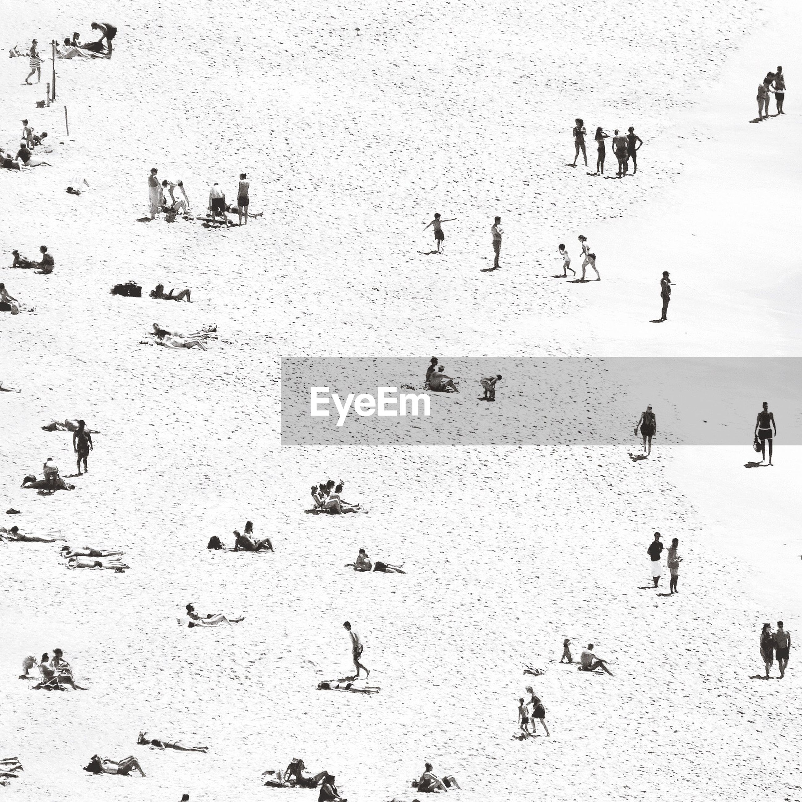 HIGH ANGLE VIEW OF PEOPLE ON SNOW COVERED BEACH