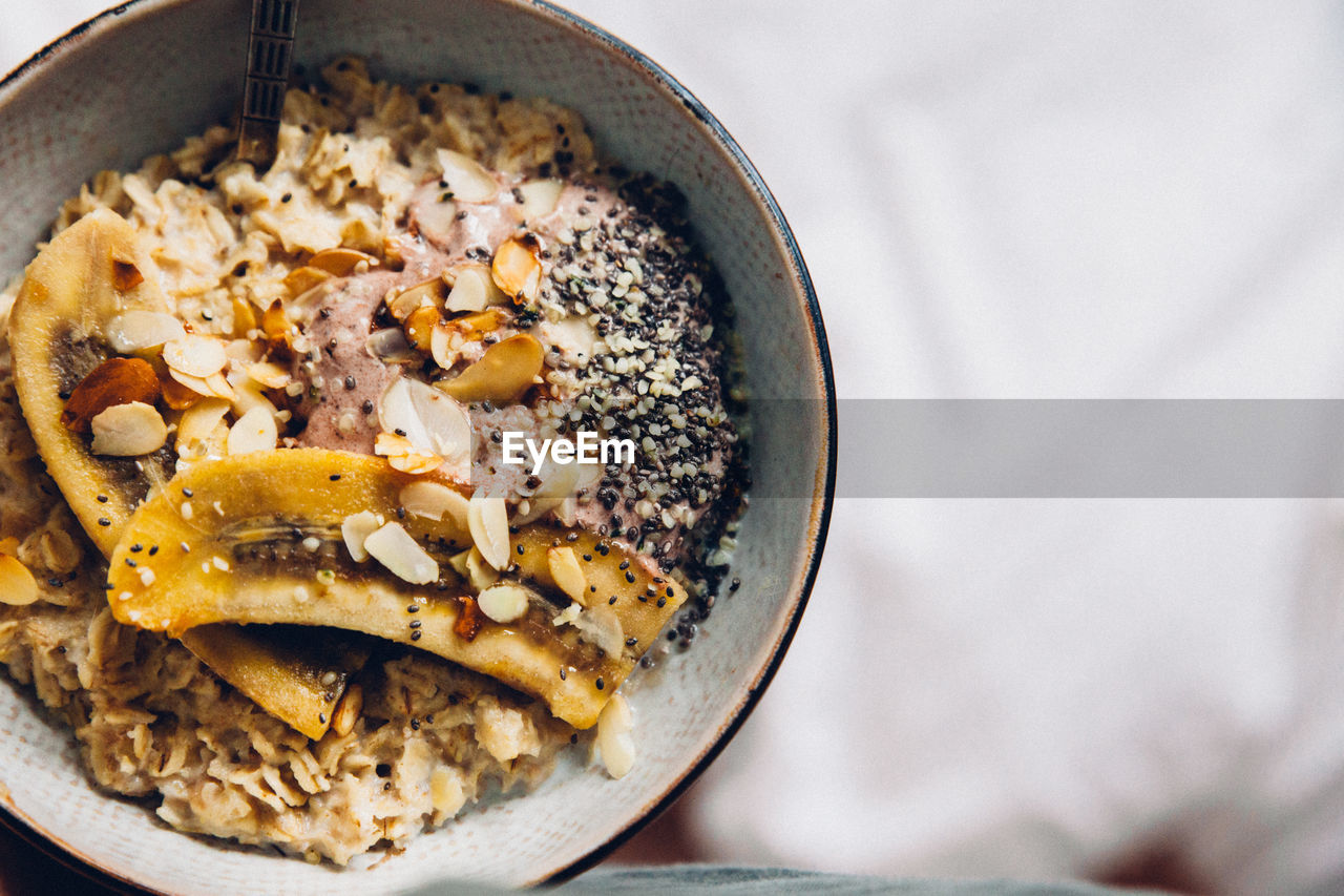 food, food and drink, close-up, still life, no people, indoors, freshness, wellbeing, healthy eating, bowl, high angle view, ready-to-eat, table, directly above, focus on foreground, kitchen utensil, spoon, vegetable, eating utensil, breakfast