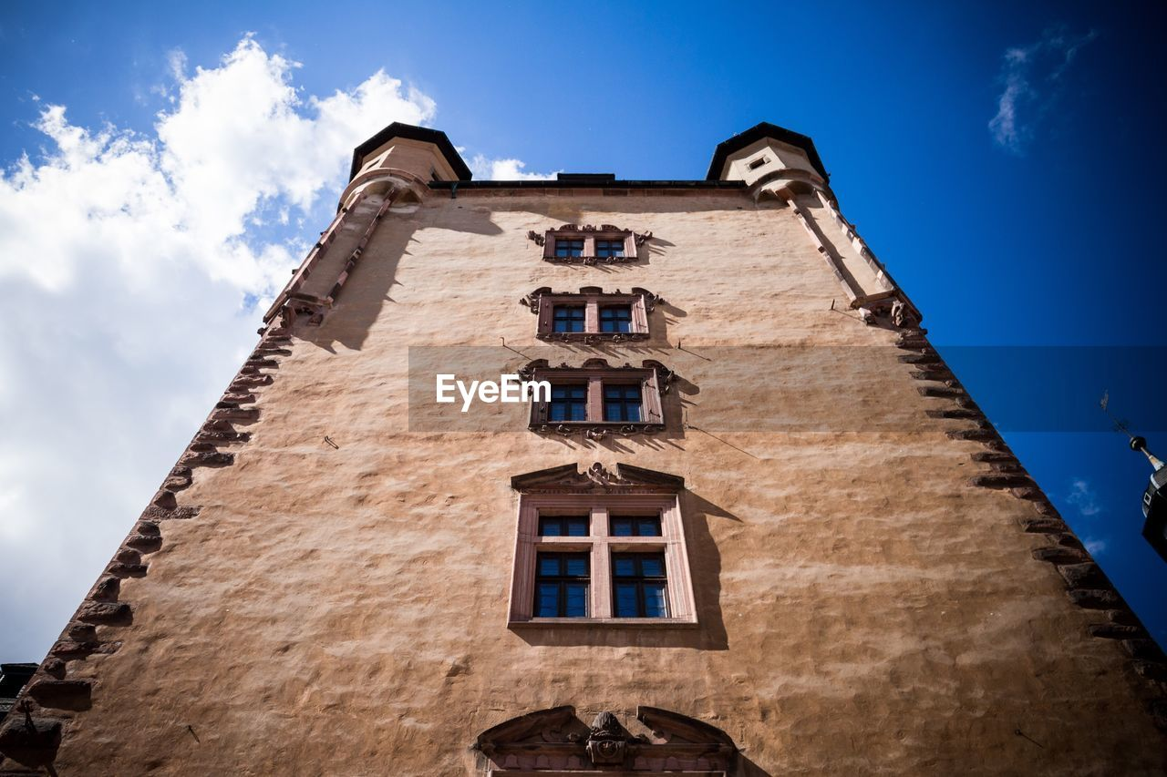 low angle view, architecture, sky, window, no people, blue, day, outdoors, building exterior