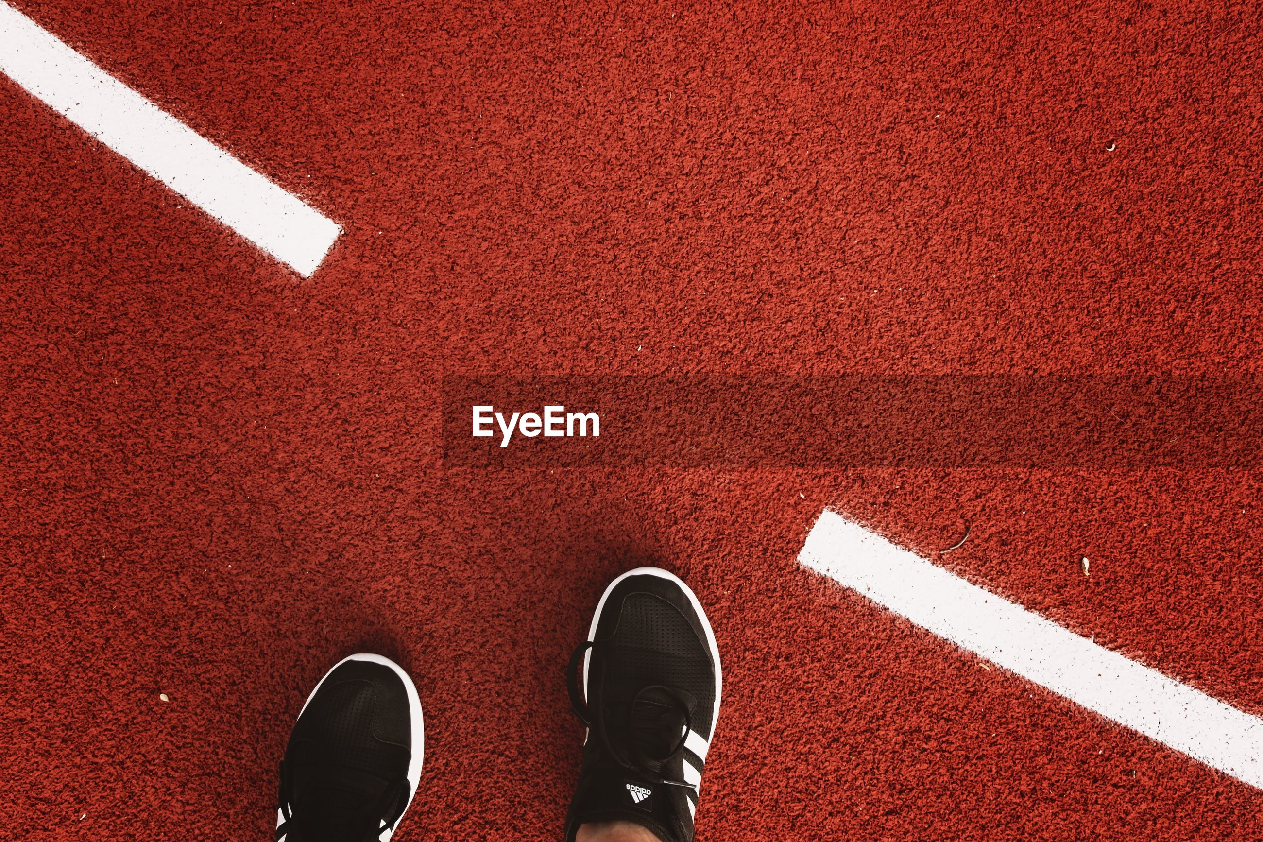 Low section of person wearing sports shoes on running track