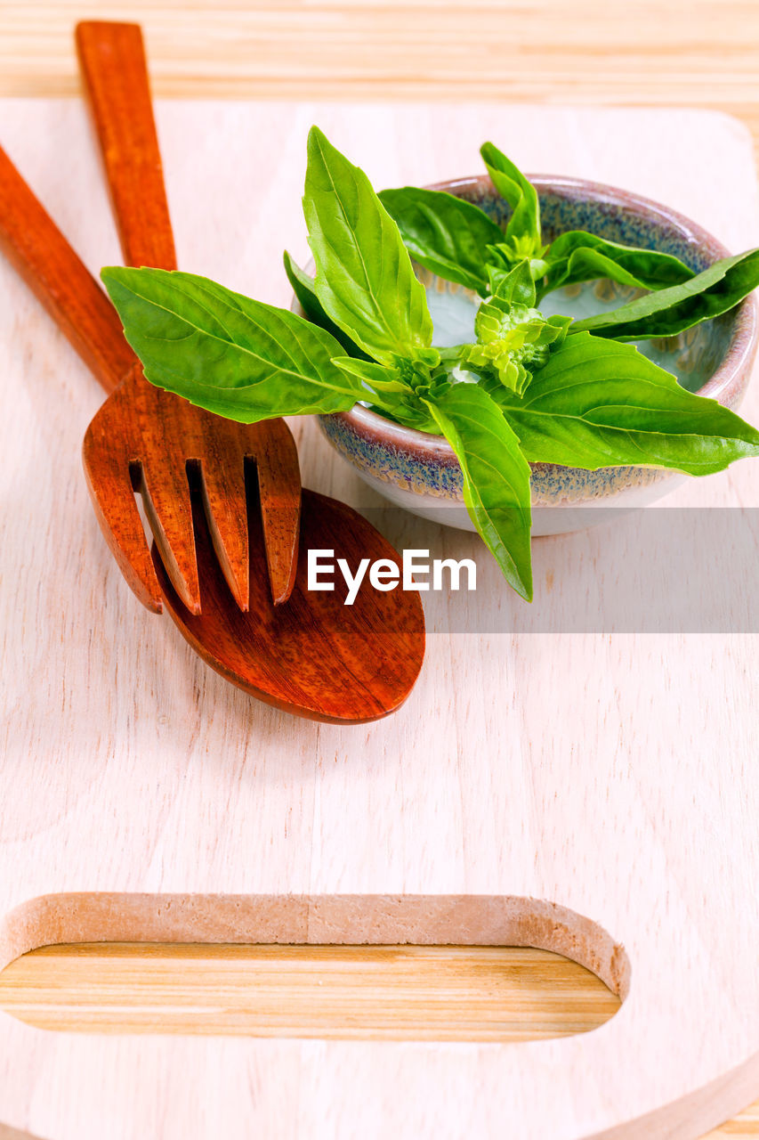 Close-up of herbs in bowl on table