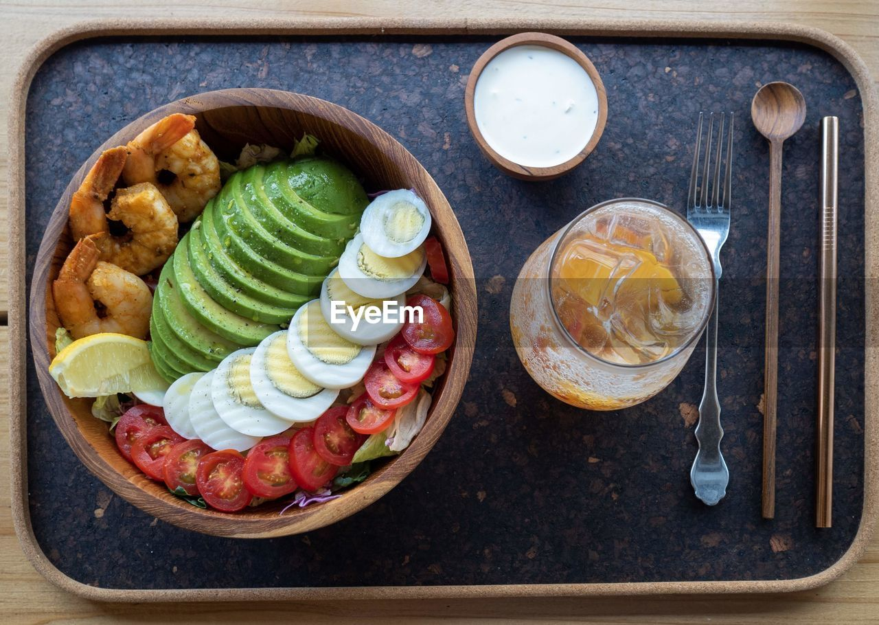 High angle view of breakfast in tray on table