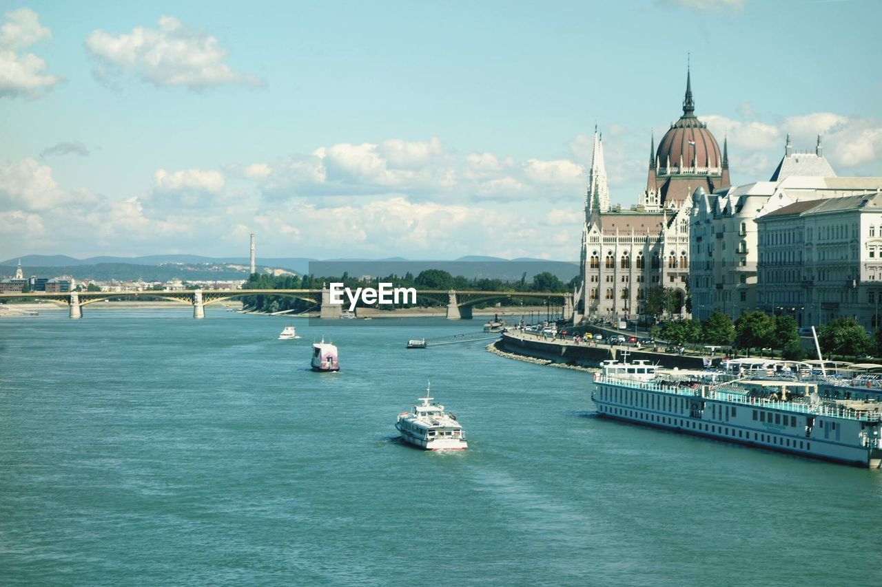 High angle view of danube river by hungarian parliament building