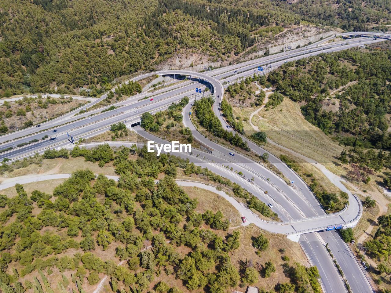 Aerial view of freeway