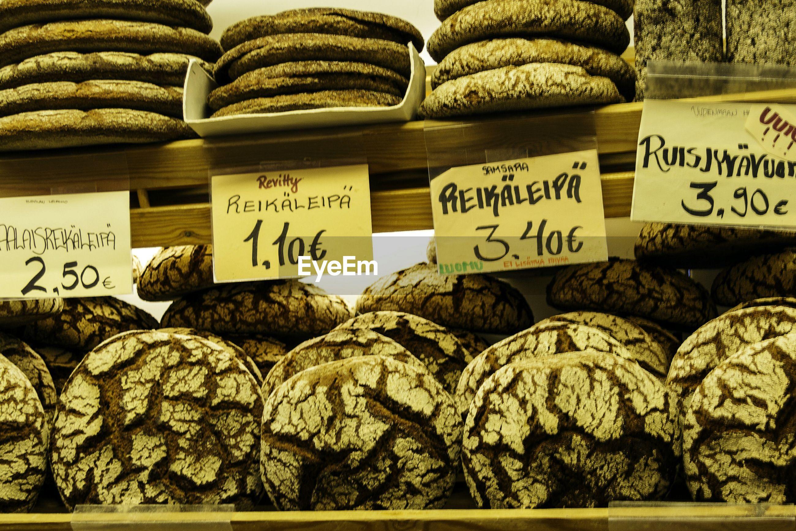 Sourdough breads for sale at bakery shop