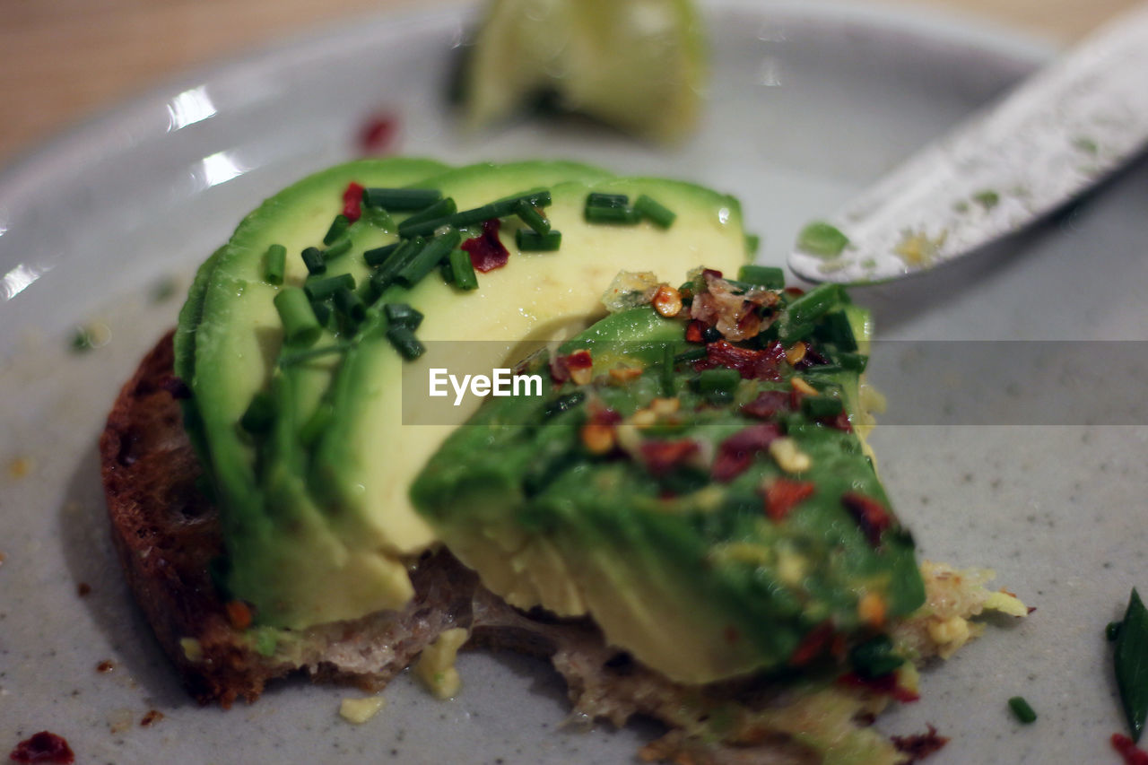 Close-up of avocado in plate