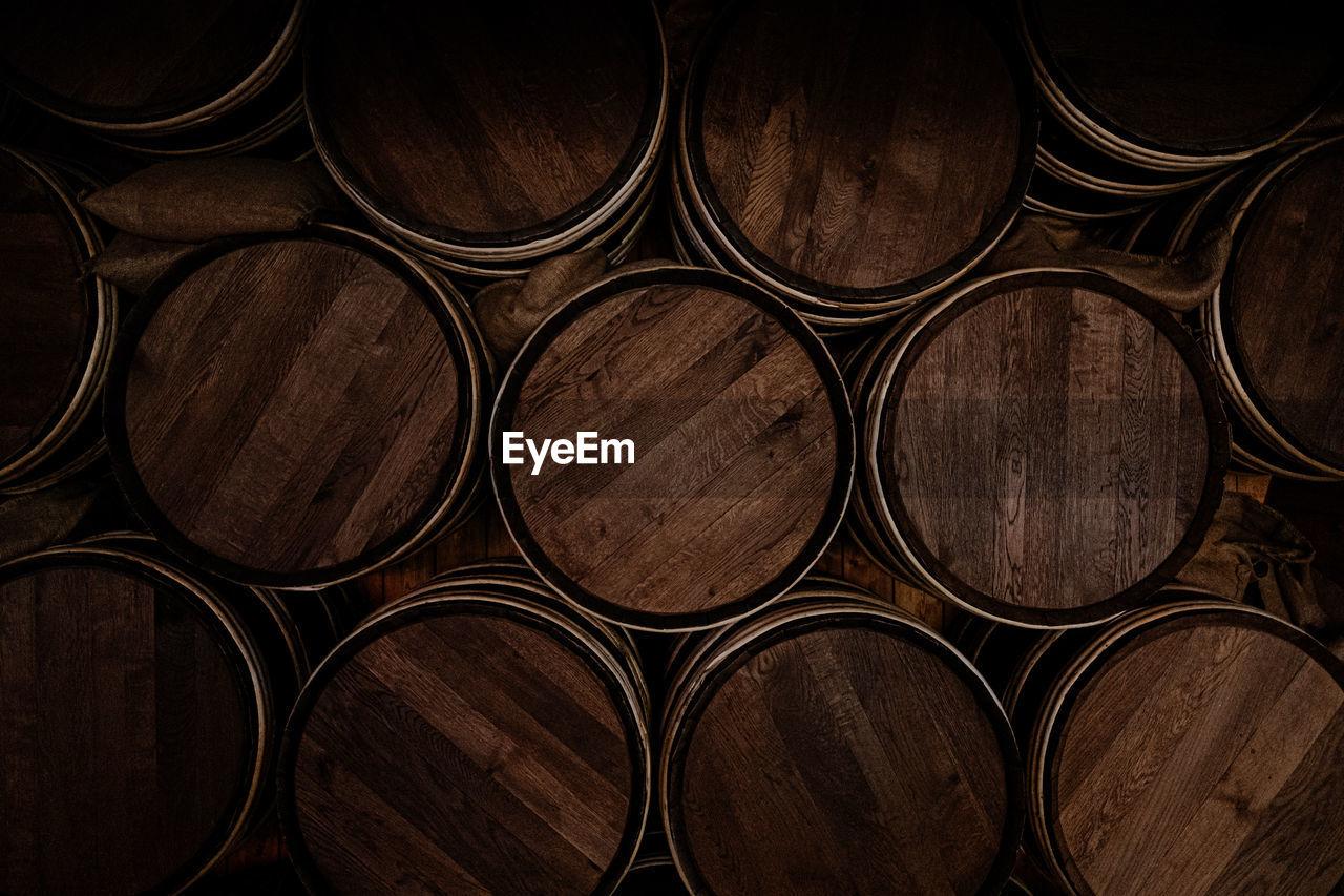 Full frame shot of wooden barrels