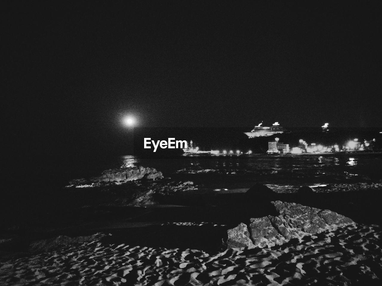 night, illuminated, no people, sea, outdoors, nature, sky