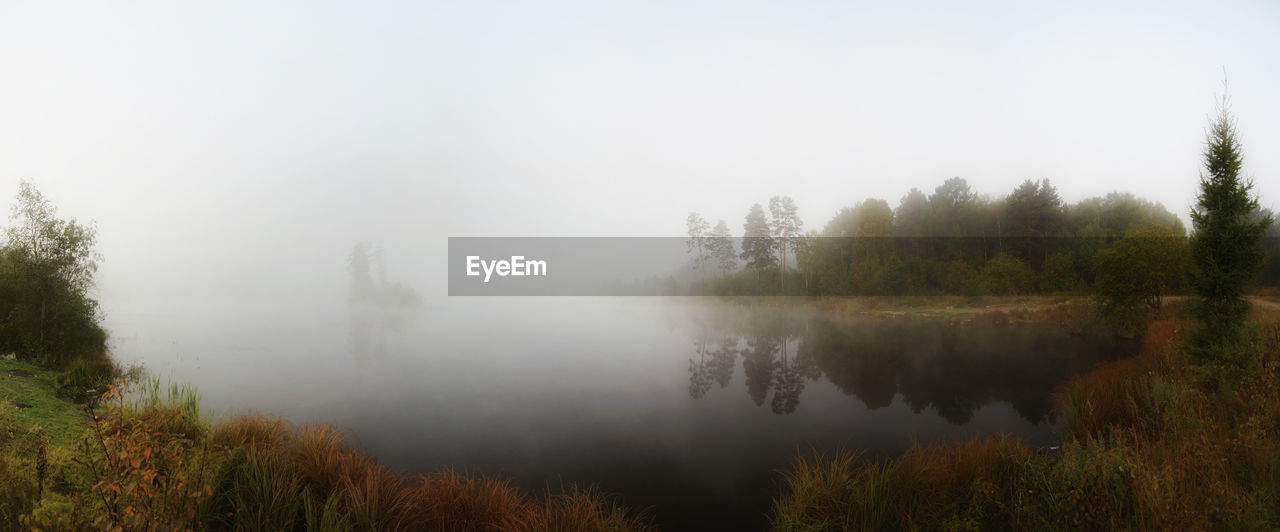 nature, fog, tree, beauty in nature, tranquil scene, tranquility, scenics, no people, idyllic, mist, outdoors, non-urban scene, water, day, hazy, landscape, lake, grass, sky