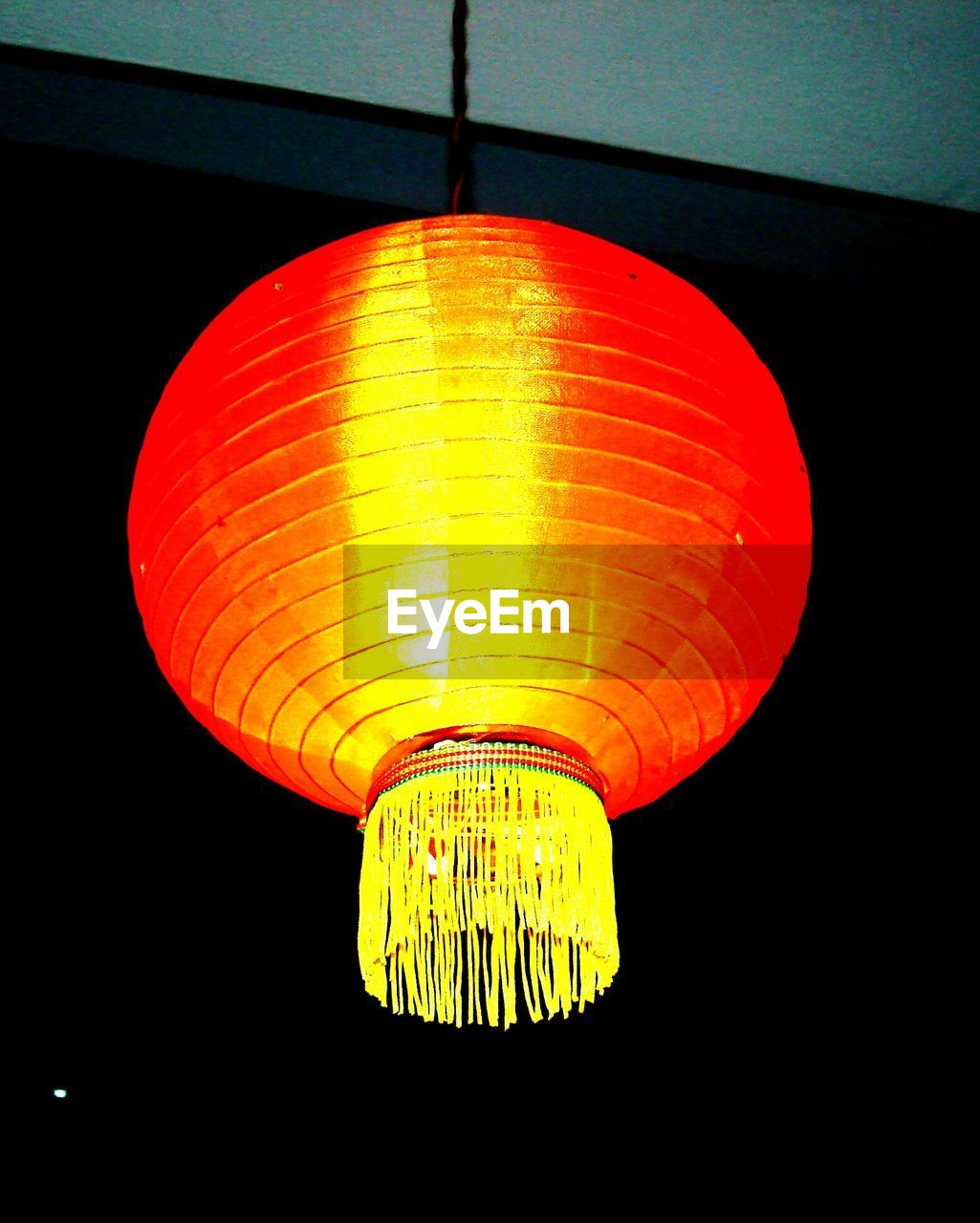 lighting equipment, low angle view, illuminated, chinese lantern, lantern, night, hanging, chinese lantern festival, multi colored, red, no people, electricity, yellow, indoors