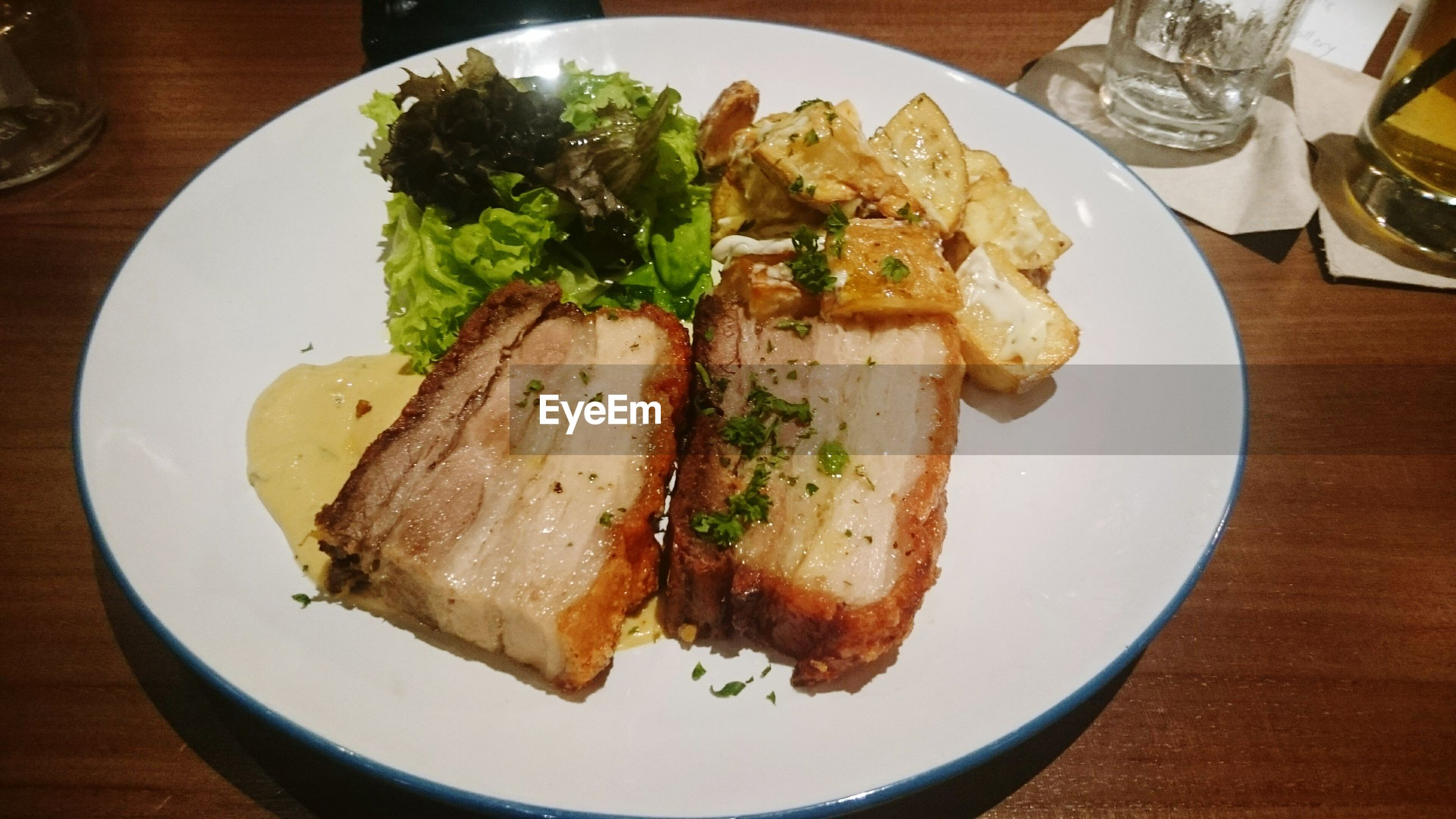 food and drink, food, indoors, plate, ready-to-eat, freshness, table, still life, serving size, meal, healthy eating, indulgence, meat, served, close-up, fork, high angle view, bread, slice, breakfast