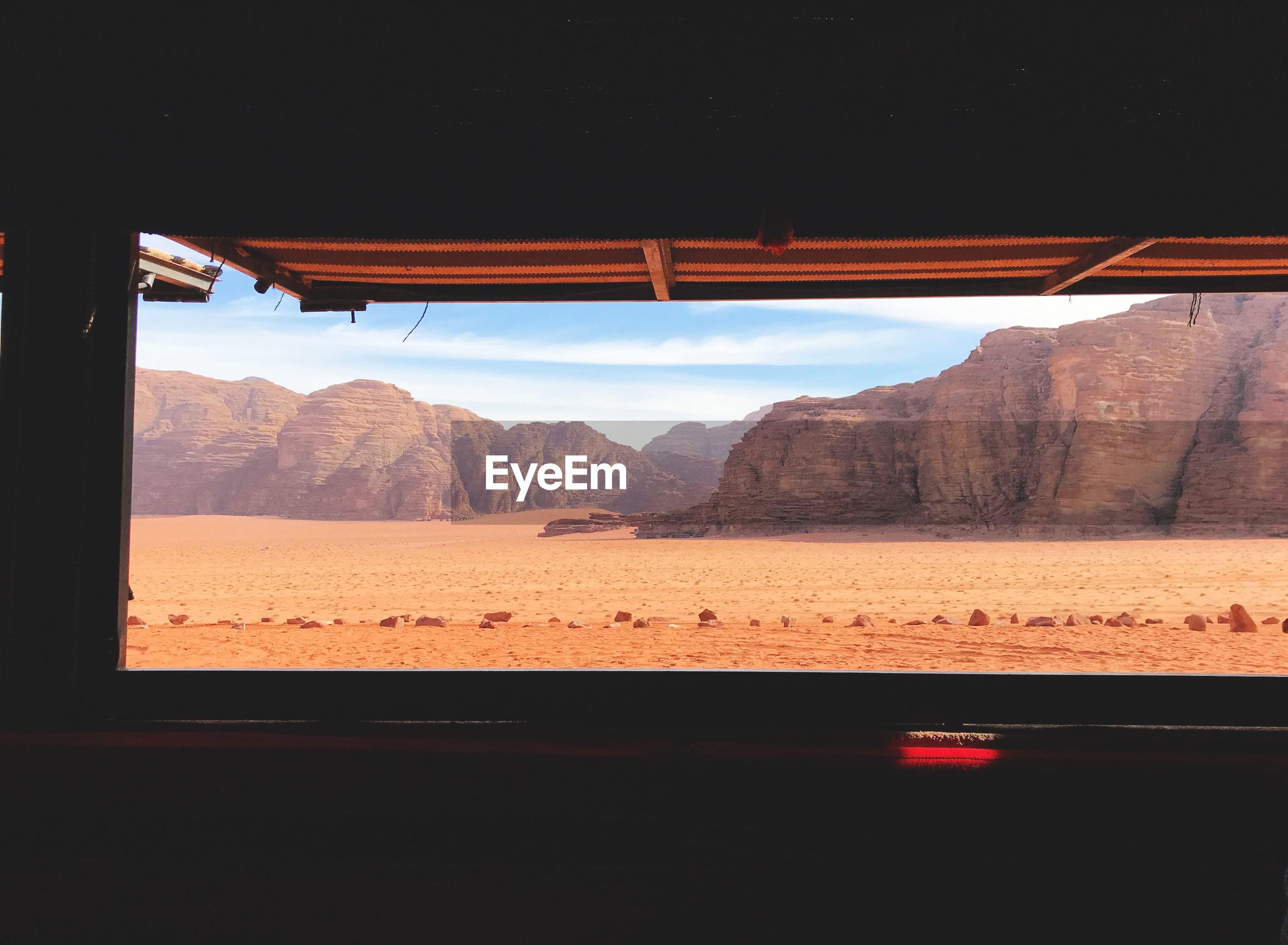 Desert seen through window