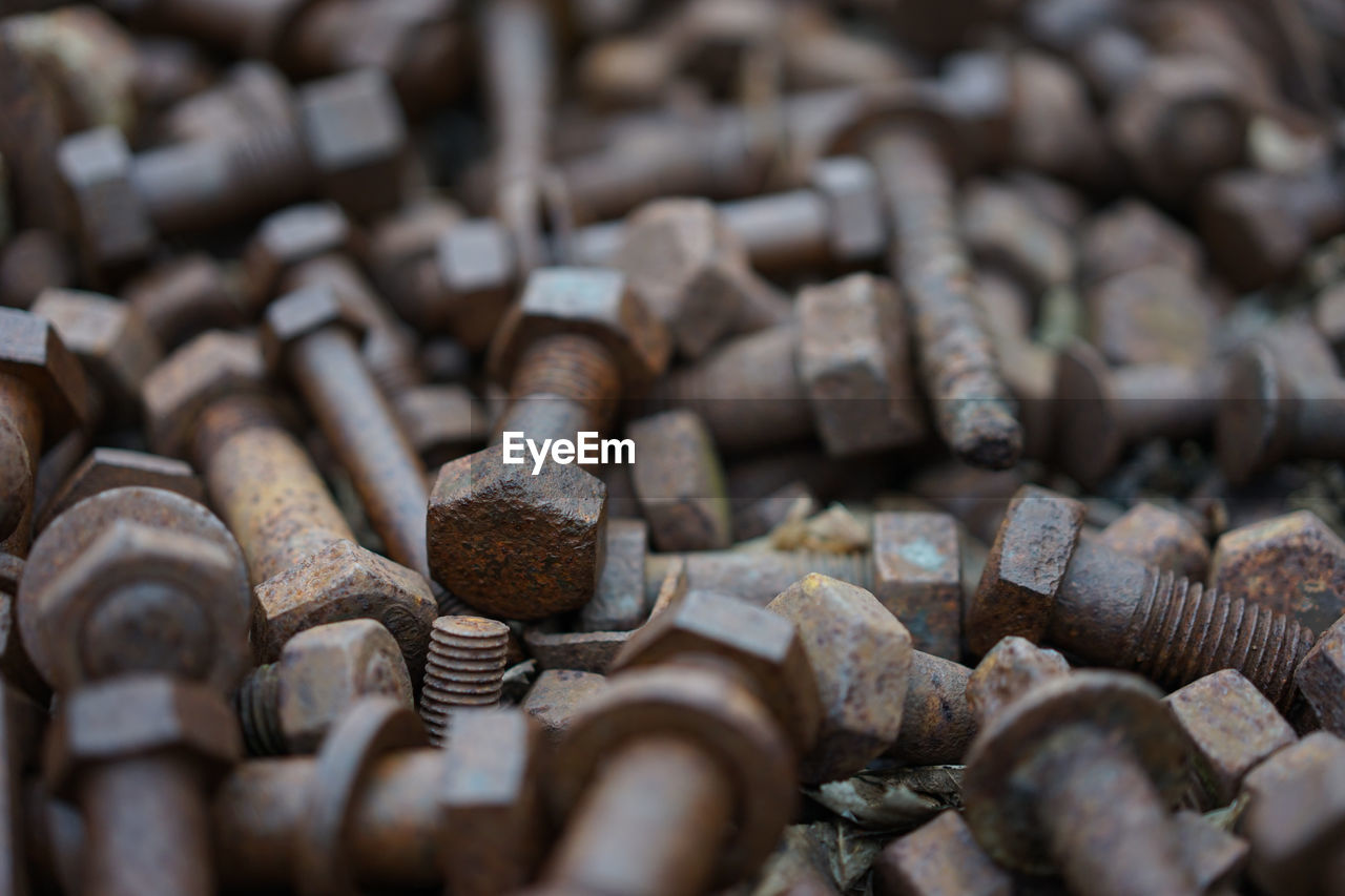 Close-Up Of Rusty Nuts And Bolts