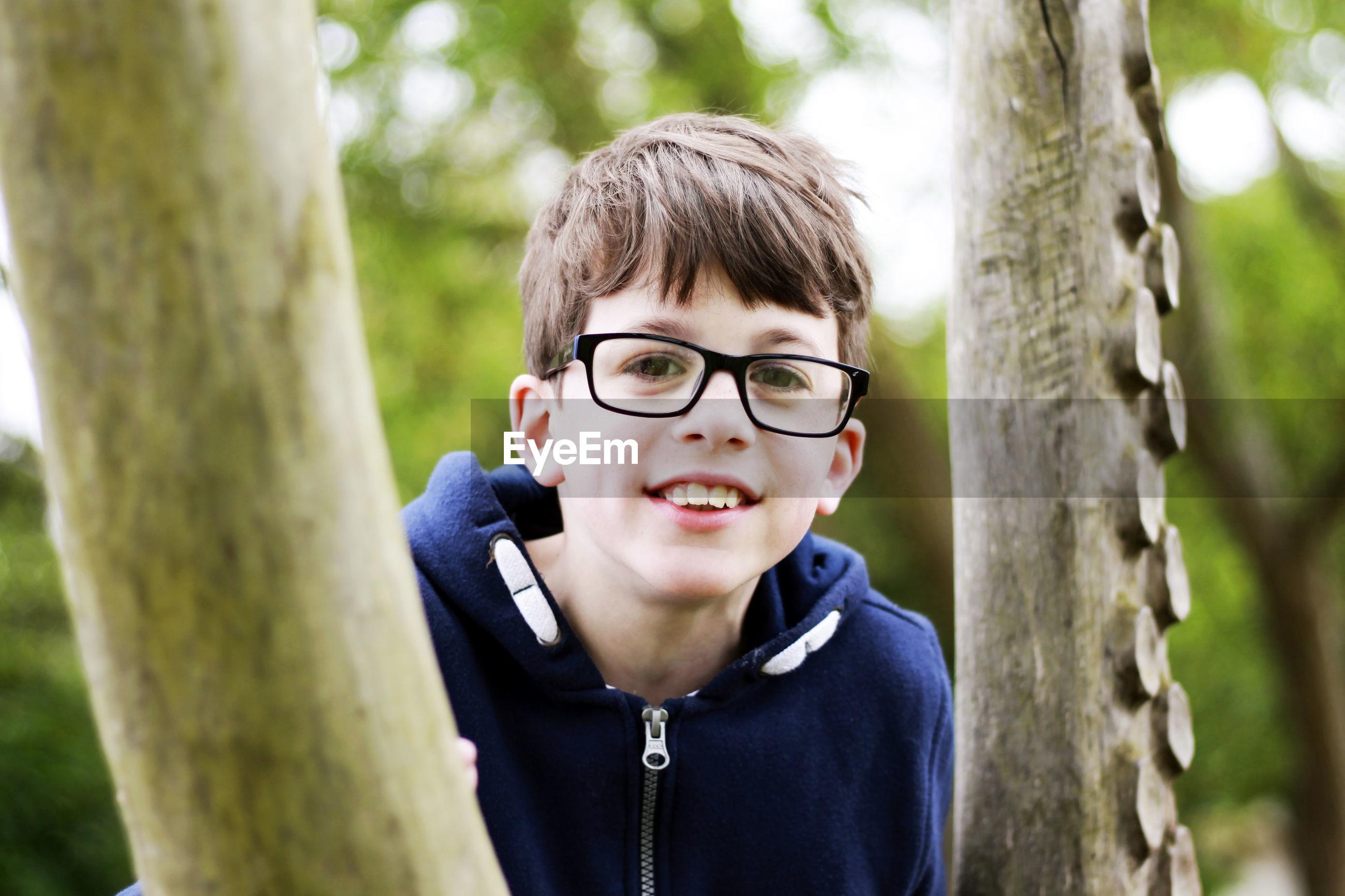 Portrait of boy wearing eyeglasses by tree trunk