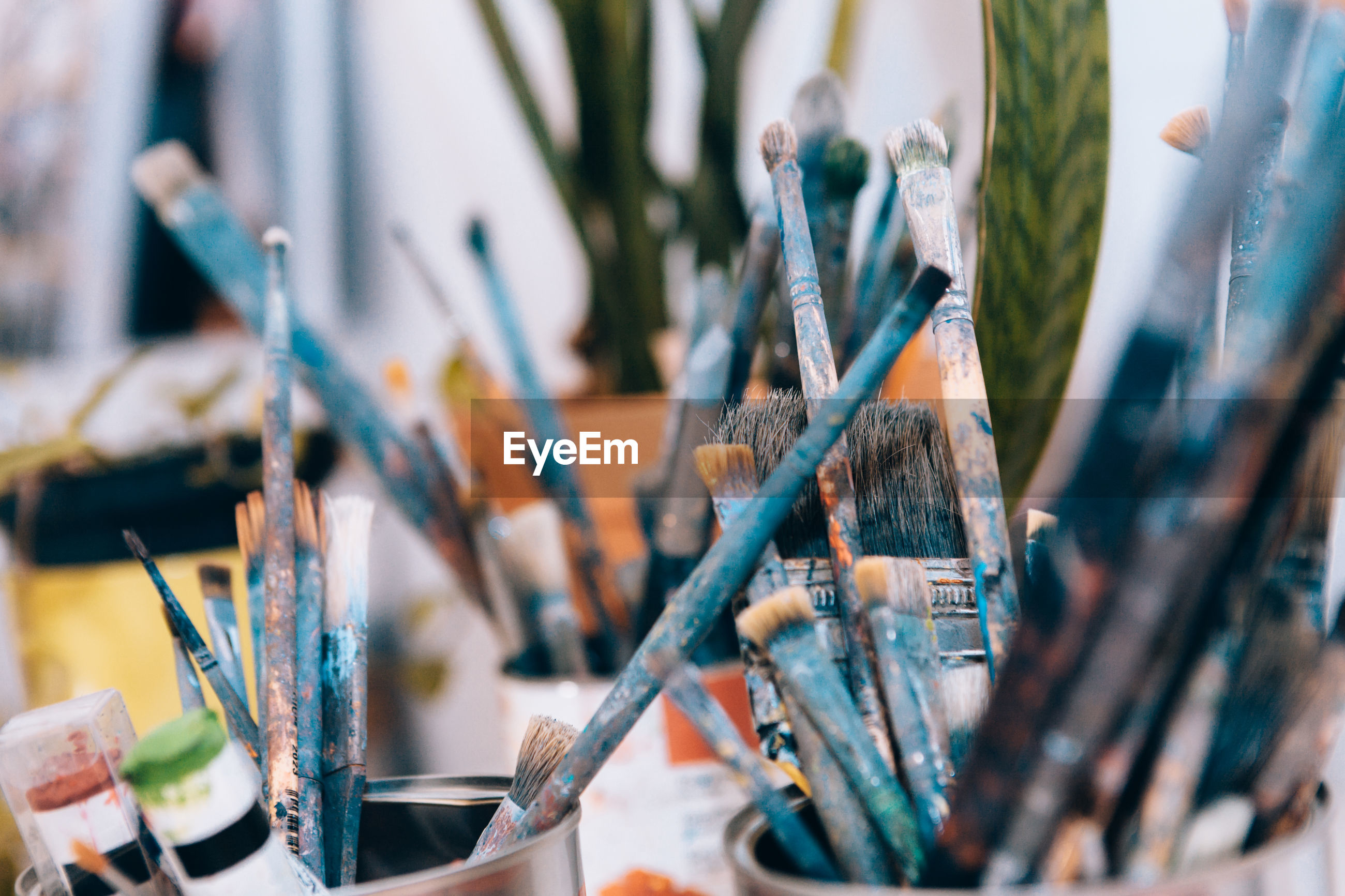 Close-up of used painter's brushes
