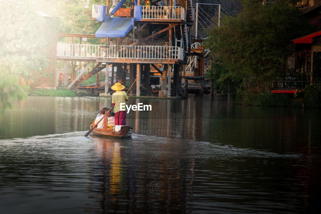 Man in boat on lake