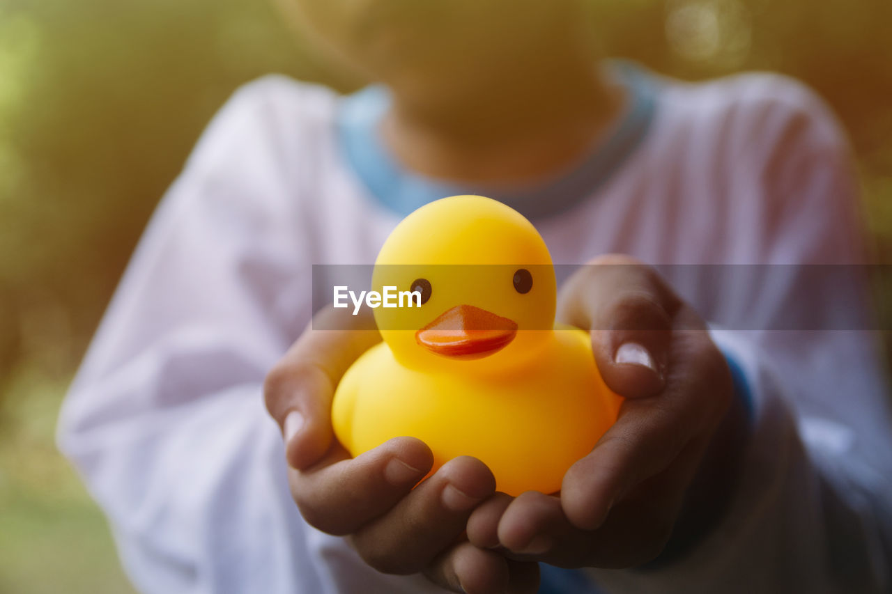 Close-Up Of Hand Holding Toy Duck