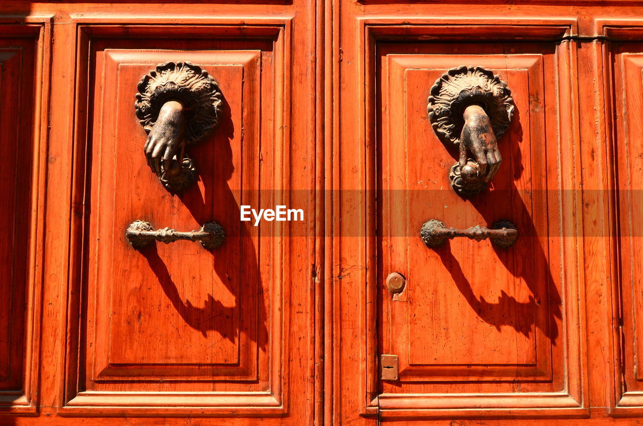 entrance, door, metal, safety, wood - material, closed, protection, security, no people, day, door knocker, art and craft, doorknob, knob, close-up, pattern, outdoors, design, architecture