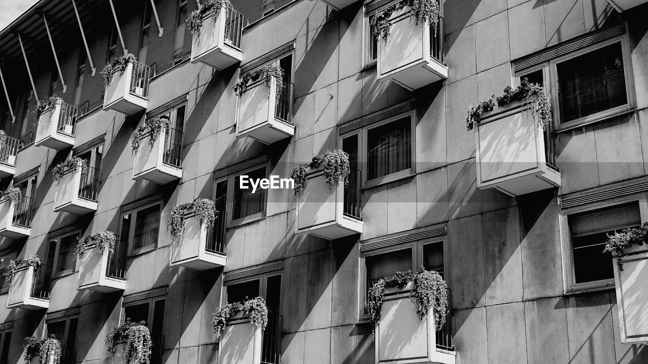 building exterior, built structure, architecture, low angle view, building, window, day, residential district, no people, hanging, balcony, city, outdoors, clothing, side by side, drying, clothesline, in a row, repetition, laundry, apartment