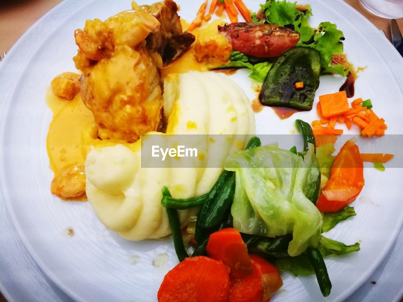 plate, ready-to-eat, food, vegetable, food and drink, freshness, healthy eating, serving size, indoors, close-up, wellbeing, salad, still life, no people, meal, high angle view, egg, meat, seafood, potato, dinner, vegetarian food