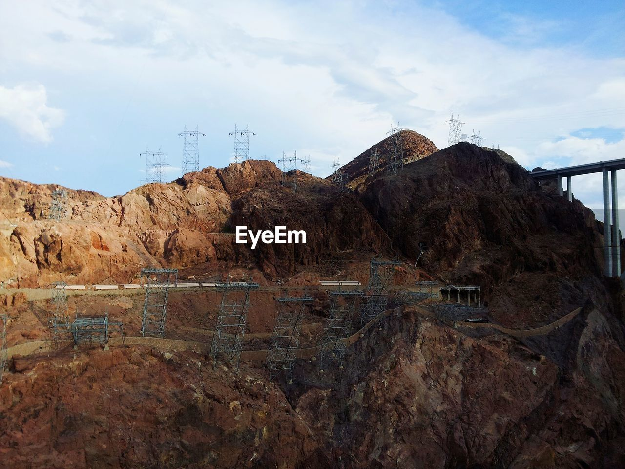 View of hoover dam against cloudy sky