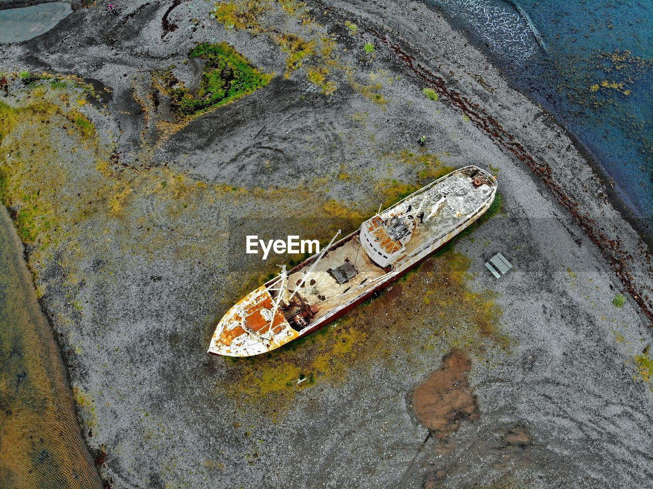 Aerial view of abandoned ship