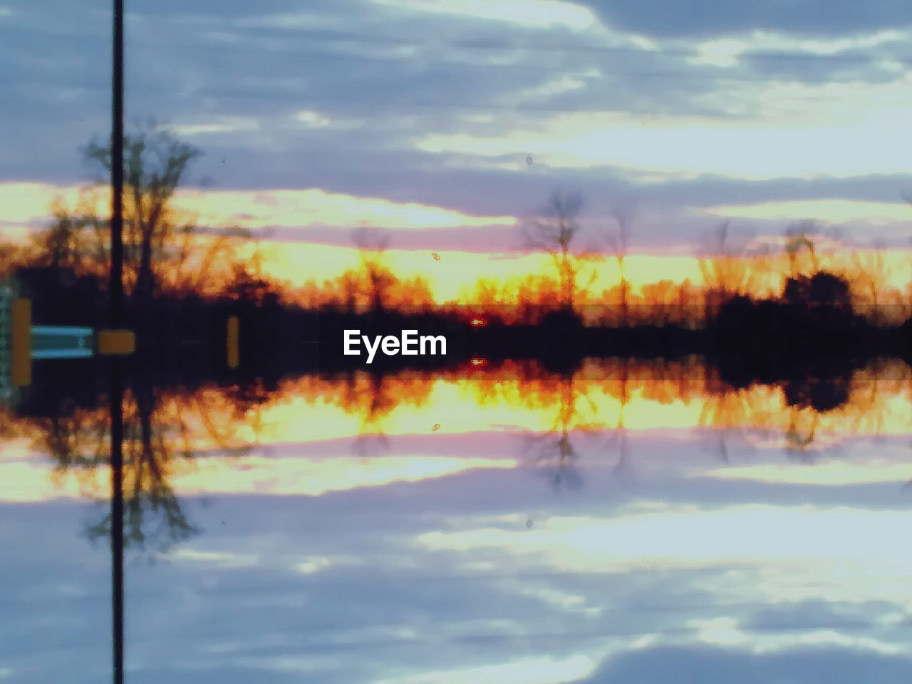 sky, cloud - sky, reflection, water, no people, nature, outdoors, tranquility, lake, scenics, beauty in nature, sunset, symmetry, day, close-up