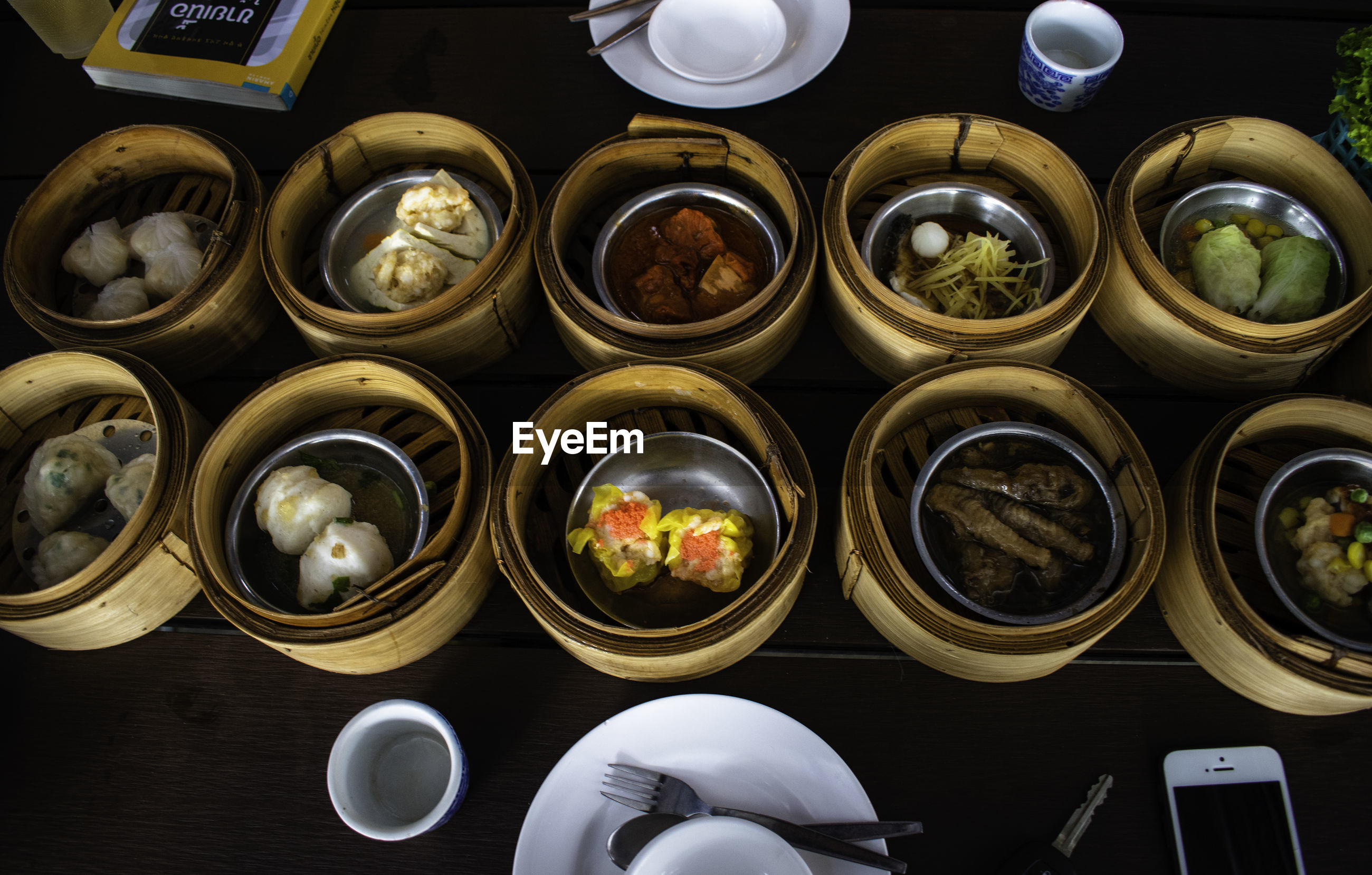 High angle view of various food in dim sums