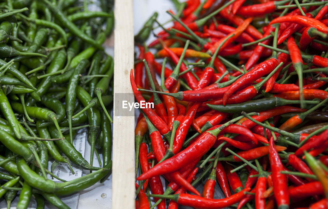 Close-up of chili peppers for sale at market