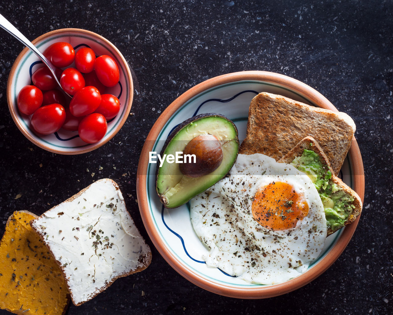 food and drink, food, healthy eating, wellbeing, egg, freshness, bread, tomato, ready-to-eat, meal, fruit, vegetable, bowl, directly above, indoors, no people, fried, fried egg, breakfast, still life, egg yolk