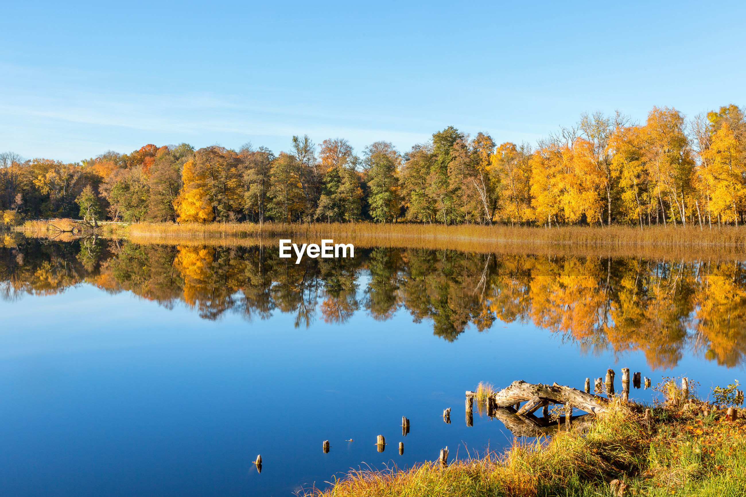 SCENIC VIEW OF LAKE DURING AUTUMN AGAINST SKY