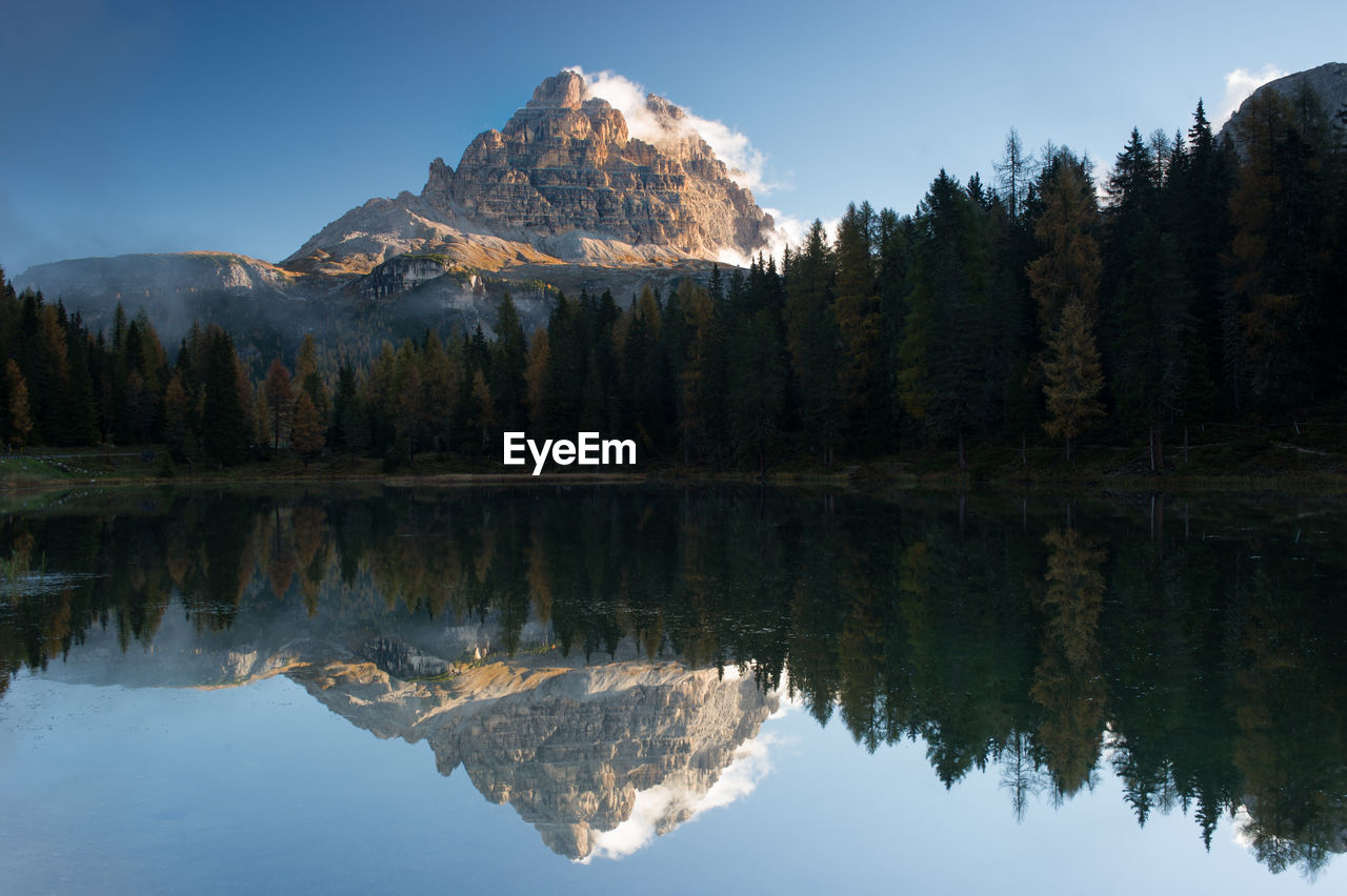 Scenic View Of Lake By Trees Against Mountain