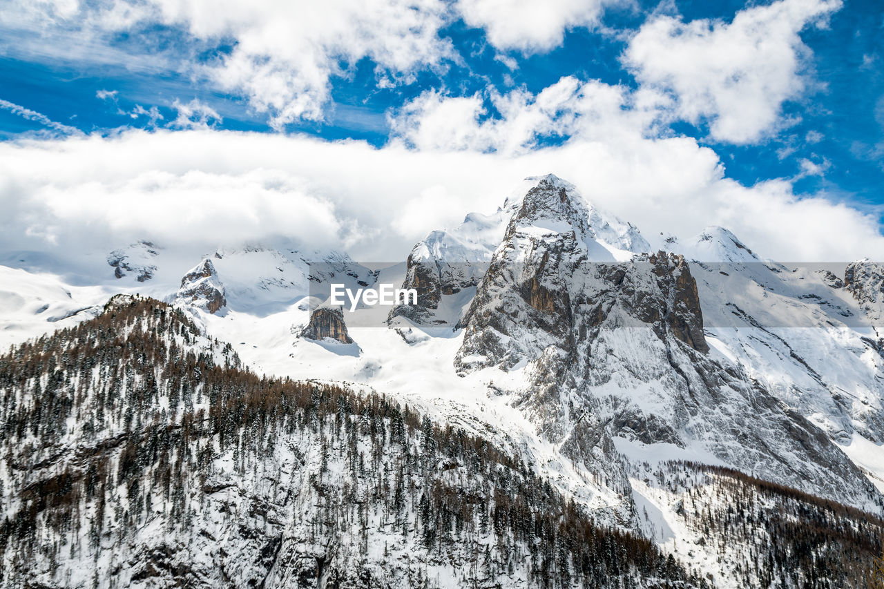 winter, snow, cold temperature, cloud - sky, sky, beauty in nature, mountain, scenics - nature, snowcapped mountain, tranquil scene, tranquility, mountain range, nature, white color, day, environment, no people, non-urban scene, landscape, outdoors, mountain peak, formation