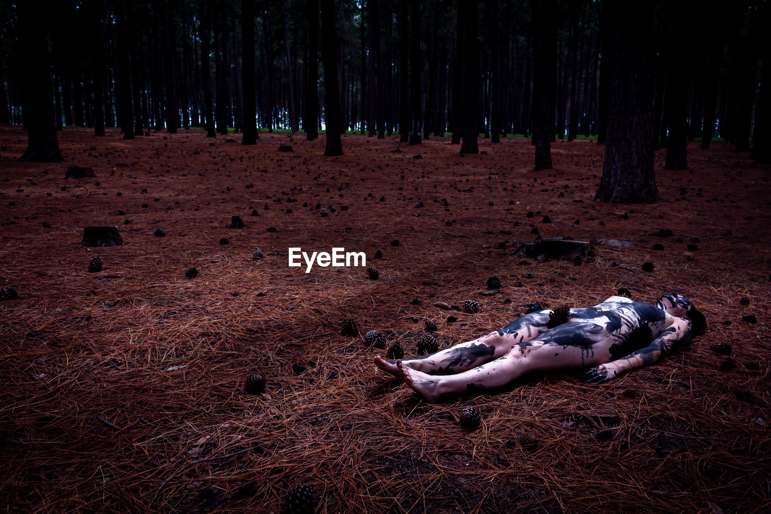 Naked woman covered with paint while lying down in forest