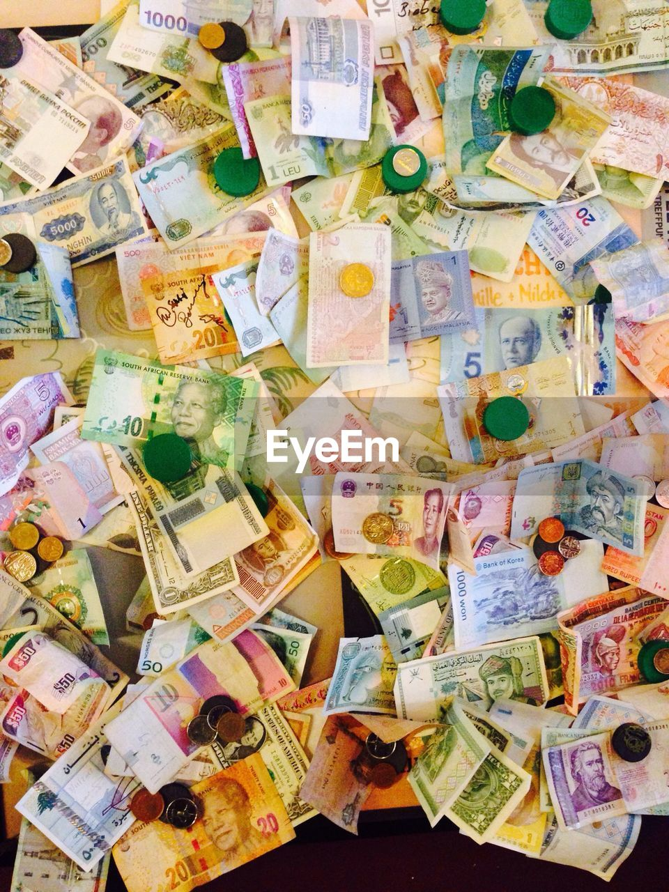High Angle View Of Currency Notes