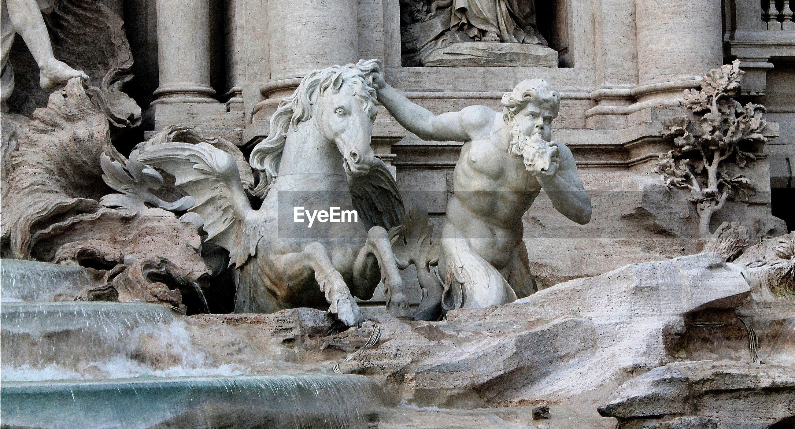 Detail of the trevi fountain, the largest baroque fountain in rome, the italian capital.