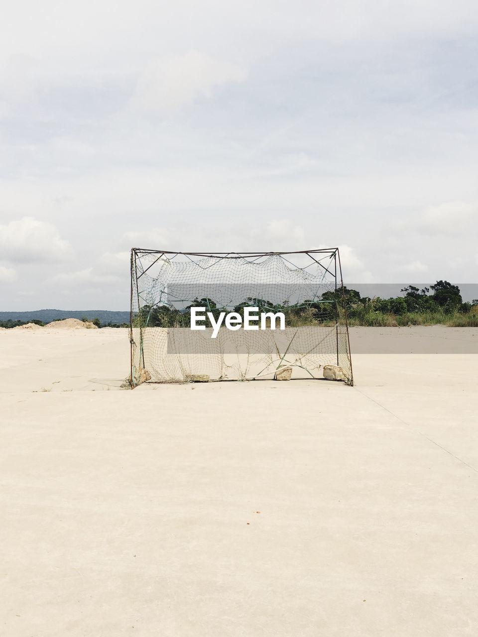 Soccer Goal At Beach Against Sky