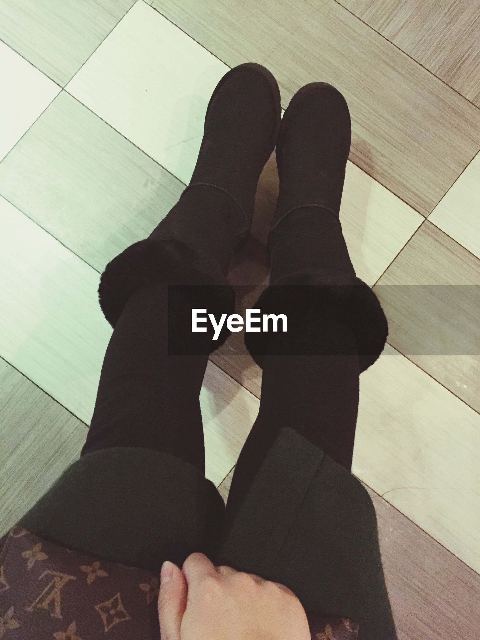 low section, person, personal perspective, indoors, human foot, lifestyles, shoe, high angle view, standing, flooring, men, tiled floor, leisure activity, barefoot, footwear, part of